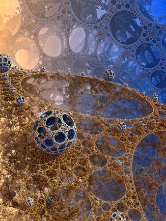 web design background: Abstract background, fantastic 3D web with spheres, fractal design.