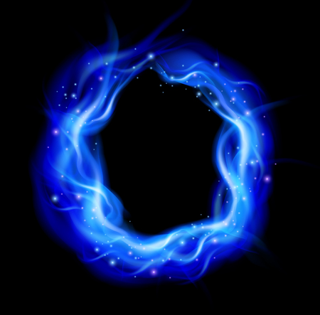 fire pit: Burning ring with blue flames background, vector illustration.