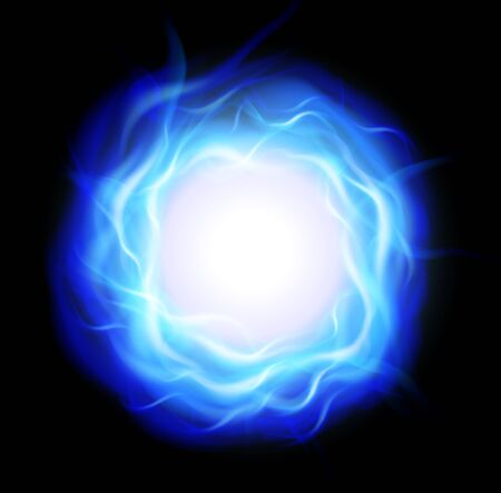 blue flames: Abstract background with burning ring and blue flames, vector illustration.