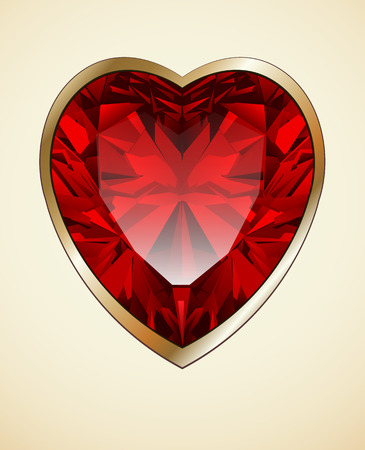 ruby red: Ruby red heart as romantic background, vector illustration