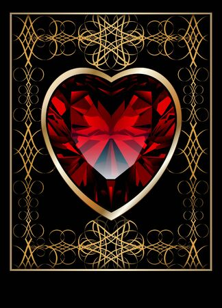 ruby red: Background with ruby red heart and gold ornamental design, vector illustration Illustration