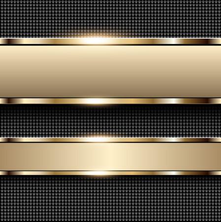 oro: Negocio de fondo beige, banners con elementos metálicos de oro sobre fondo de patrón de puntos, ilustración vectorial.
