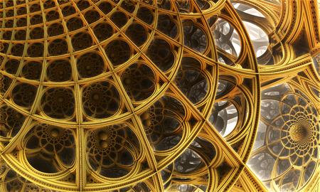 golden background: Abstract background, fantastic 3D gold structures, fractal design.