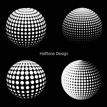 3d ball: 3D halftone spheres.  Halftone design elements Illustration