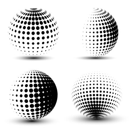 3D vector halftone spheres. Set of halftone vector backgrounds. Halftone design elements