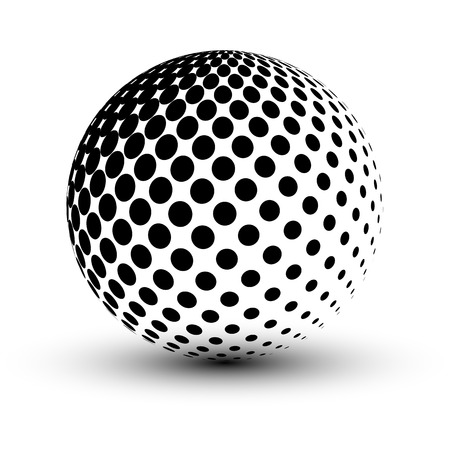 Abstract Halftone sphere, vector design.