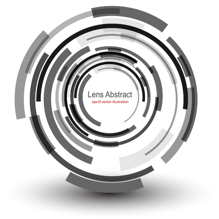 macchina fotografica: Sfondo con un disegno astratto lente circolare, illustrazione vettoriale.