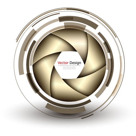 추상 렌즈 설계 및 벡터 셔터와 배경의 3D.