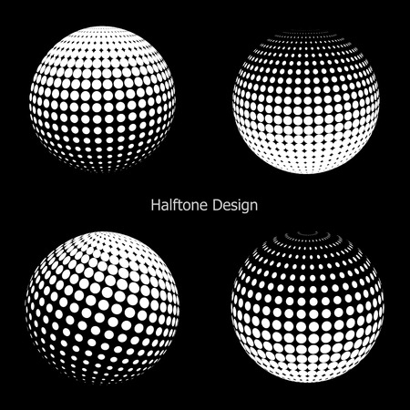 halftone dots: 3D vector halftone spheres. Set of halftone vector backgrounds. Halftone design elements