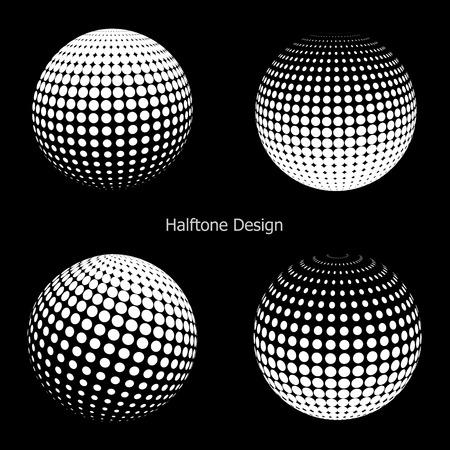 esfera: Vector de medias esferas 3D. Conjunto de fondos de medios tonos vectoriales. Elementos de diseño de medios tonos