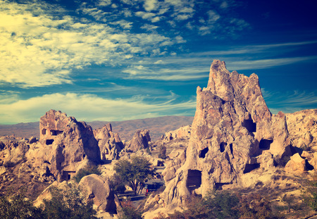 goreme: Vintage photo of Cappadocia Rock formations in Goreme National Park, Turkey