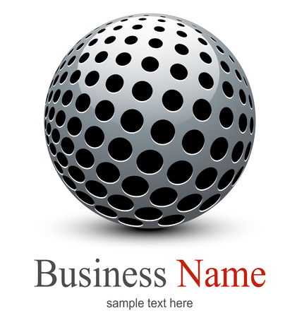 Logo, abstract sphere with halftone shape, vector 3D design.