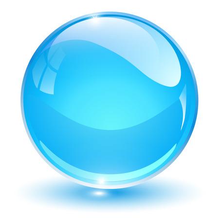 glass sphere: Glass sphere, blue vector ball.
