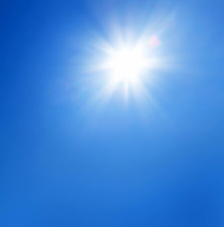 sky sun: Sun with lens flare and  blue sky background