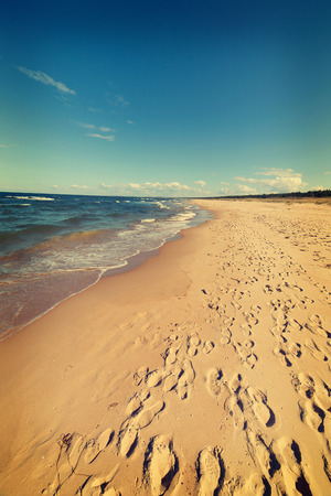 footstep: Baltic sea beach with many footstep, Poland.