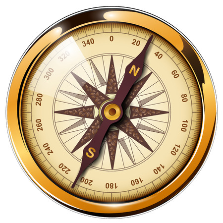 Compass with windrose isolated, retro vector design. Vettoriali