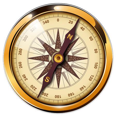 Compass with windrose isolated, retro vector design. Vettoriali