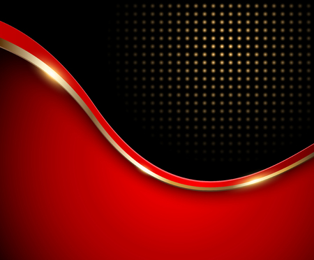 Abstract background red with gold wave and dotted pattern, vector Vectores