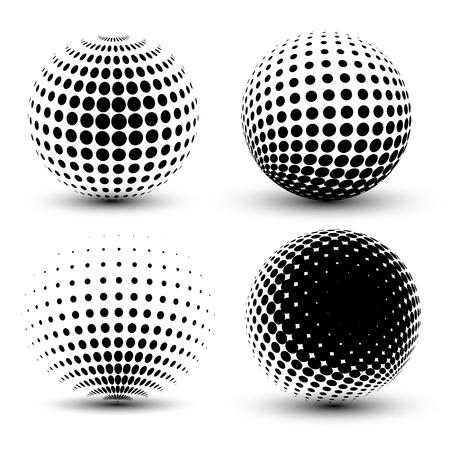 3D-Vektor-Halbton-Sphären. Set Halbton-Vektor-Hintergründe. Halbton-Design-Elemente