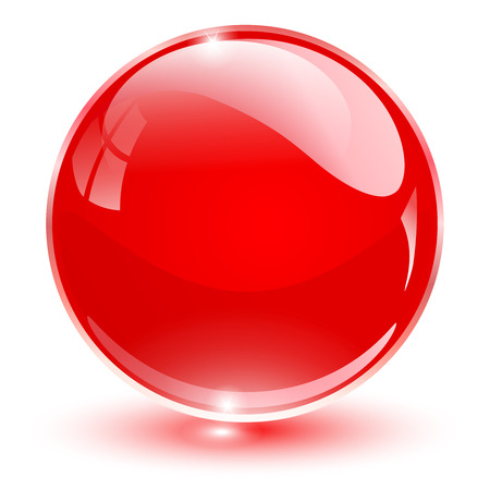 Glazen bol, vector rode bal.