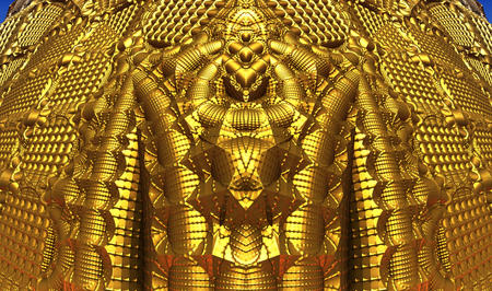 render: Abstract gold background, futuristic 3D elements.