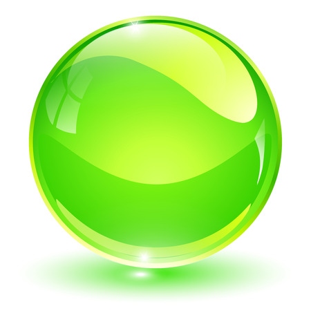 sphere icon: Glass sphere, green vector ball. Illustration