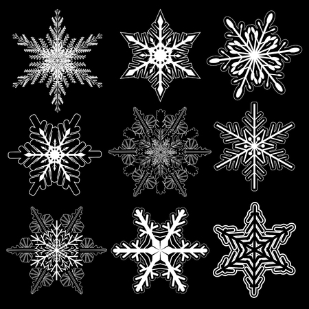 colection: Snowflakes winter set, vector design. Illustration