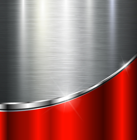 Metallic background polished steel texture, vector design. Ilustrace