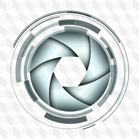 3D Fondo con diseño resumen objetivo y el vector del obturador. Foto de archivo - 46102896