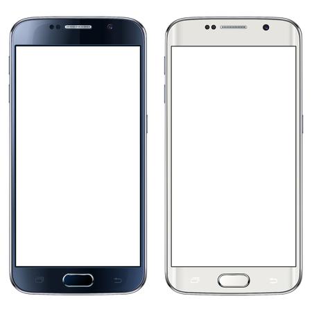 Smartphone, mobiele telefoon geïsoleerd met een leeg scherm Stock Illustratie