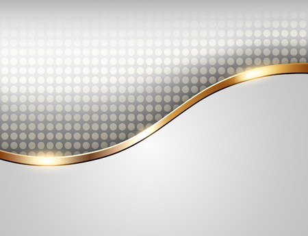 Zakelijke achtergrond grijs met gouden golf, elegante illustratie. Stock Illustratie