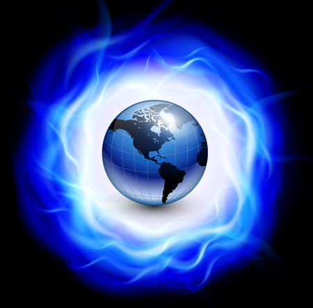 flames background: Background with burning ring of blue flames and earth globe inside, illustration.