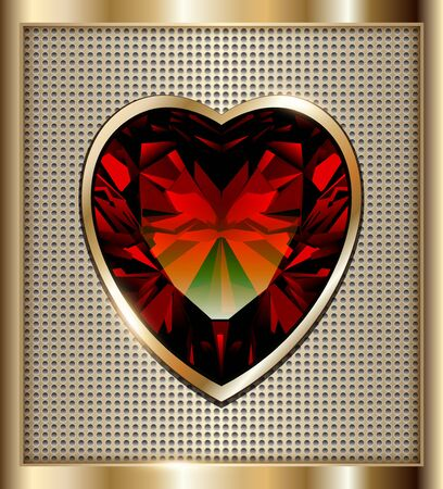 ruby: Gold background with ruby red heart, illustration