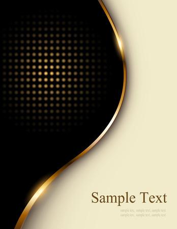 detail invitation: Business background beige and black with golden wave, elegant illustration.