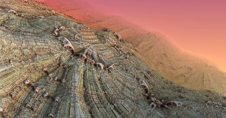 scifi: Alien planet sci-fi background. 3D digitally rendered illustration Stock Photo