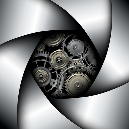 camera lens: Background with camera lens shutter with gears inside, illustration.