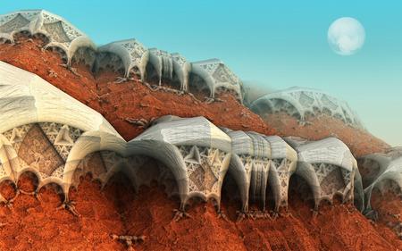 Alien planet sci-fi background. 3D digitally rendered illustration Banque d'images