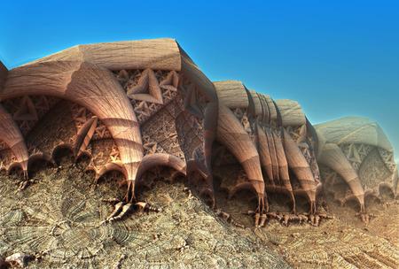 3d weird: Alien planet sci-fi background. 3D digitally rendered illustration Stock Photo
