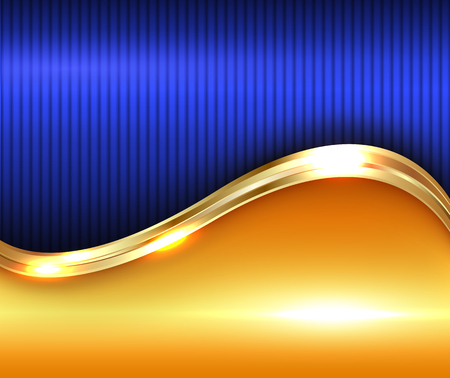 blue wave: Abstract gold shiny background, illustration.