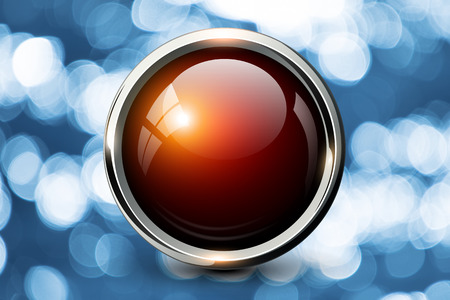 shiny button: Red shiny button over blue bokeh background. Stock Photo