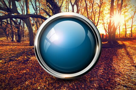 shiny button: Blue shiny button over sunset autumn nature background