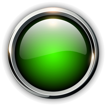 Green shiny button with metallic elements, vector design for website. Ilustracja