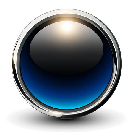 metallic: Blue shiny button with metallic elements, 3D glossy vector design Stock Illustratie