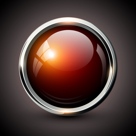 Red shiny button with metallic elements, vector glossy design for website.