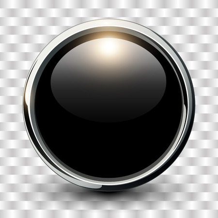 push: Black shiny button with metallic elements, vector design. Illustration