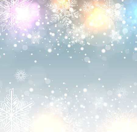 blizzards: Winter frozen background with snowflakes, vector christmas illustration. Illustration