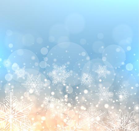frio: elegante fondo de invierno con copos de nieve, vector de ilustración de Navidad.