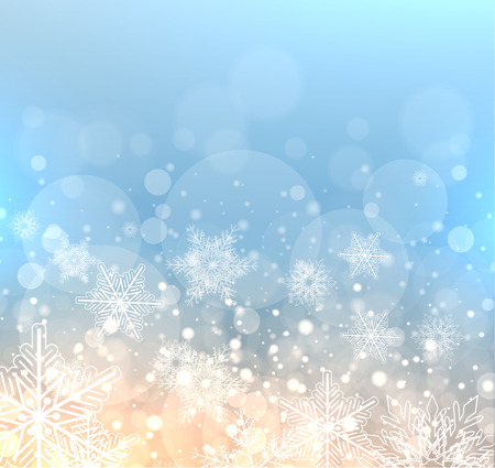 cold: Winter elegant background with snowflakes, vector christmas illustration. Illustration