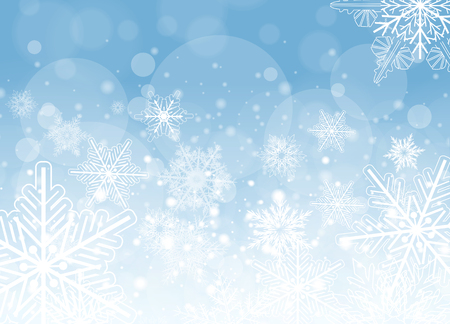 frozen winter: Winter frozen background with snowflakes, vector christmas illustration. Illustration