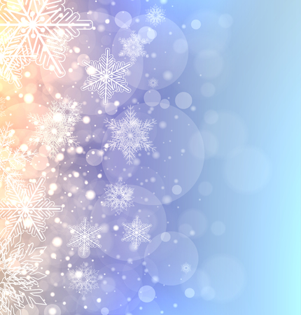 ice: Winter elegant background with snowflakes, vector christmas illustration. Illustration